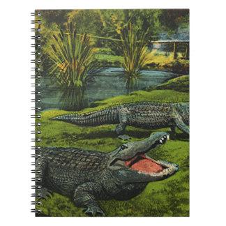 Reptiles de la vida marina del vintage, animales, note book