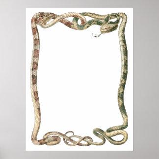 Reptiles del vintage, serpientes o frontera póster