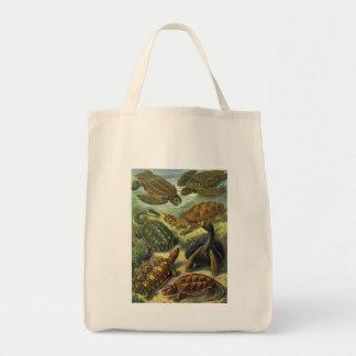 Reptiles marinos del vintage, tortuga de la tierra bolsa tela para la compra