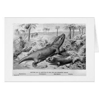 Reptiles triásicos y tarjeta anfibia del arte