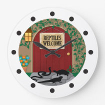 Reptiles Welcome Large Clock