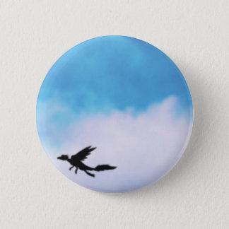 Reptilian Bird Dragon and Clouds Fantasy Art Pinback Button