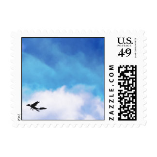 Reptilian Bird Dragon and Clouds Fantasy Art Postage Stamp