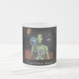 Reptillian people frosted glass coffee mug