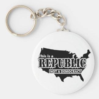 Republic Basic Round Button Keychain
