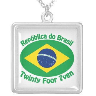 Republic Of Brazil - Twinty Foor 7ven Square Pendant Necklace