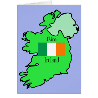 Republic of Ireland Flag and Map Card