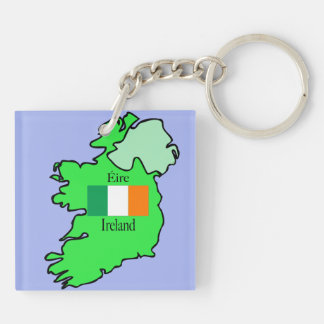 Republic of Ireland Flag and Map Keychain