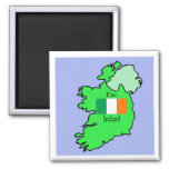 Republic of Ireland Flag and Map 2 Inch Square Magnet