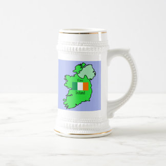 Republic of Ireland Flag and Map 18 Oz Beer Stein