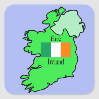 Republic of Ireland Flag and Map Square Sticker
