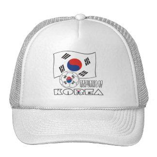 Republic of Korea (South) Soccer Ball and Flag Trucker Hat