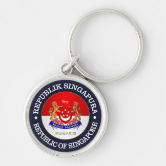 Republic of Singapore Silver-Colored Round Keychain
