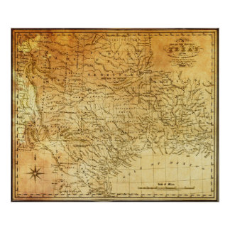 REPUBLIC of TEXAS 1841 MAP Poster