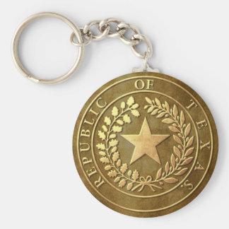 Republic of Texas Seal Basic Round Button Keychain