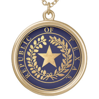Republic of Texas Seal Gold Plated Necklace