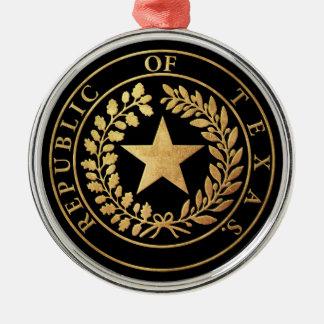 Republic of Texas Seal Round Metal Christmas Ornament