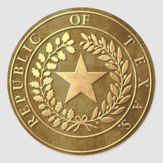 Republic of Texas Seal Round Stickers