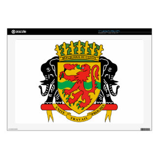 "Republic of the Congo Coat of Arms Decals For 17"" Laptops"