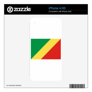 Republic Of The Congo Flag Decals For iPhone 4