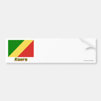 Republic of the Congo Flag with name in Russian Car Bumper Sticker