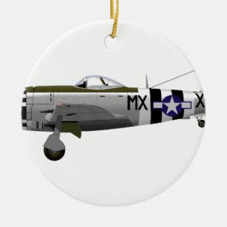 Republic P-47D Thunderbolt Double-Sided Ceramic Round Christmas Ornament