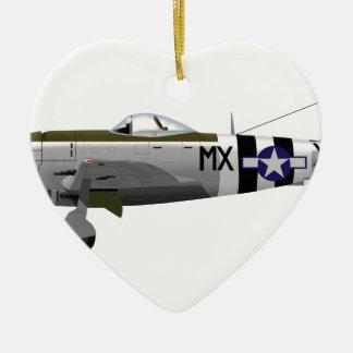 Republic P-47D Thunderbolt Double-Sided Heart Ceramic Christmas Ornament