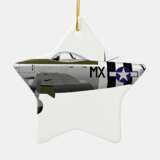 Republic P-47D Thunderbolt Double-Sided Star Ceramic Christmas Ornament