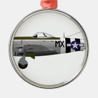 Republic P-47D Thunderbolt Round Metal Christmas Ornament