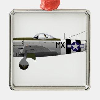 Republic P-47D Thunderbolt Square Metal Christmas Ornament