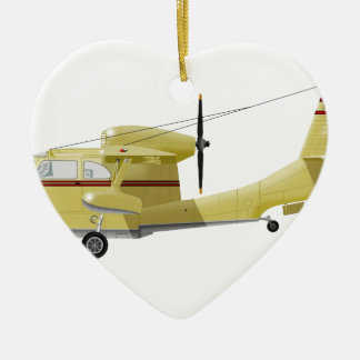 Republic  RC-3 Seabee Double-Sided Heart Ceramic Christmas Ornament