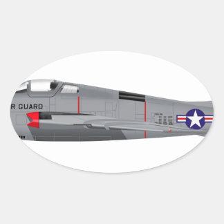 Republic RF-84F Thunder Flash Oval Sticker