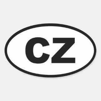 República Checa - CZ - europeo Pegatinas Ovaladas