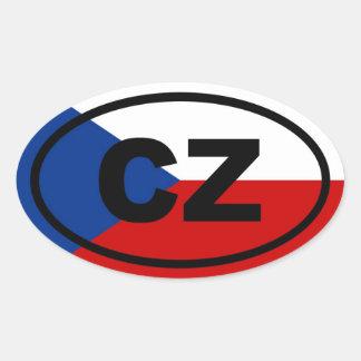 República Checa - CZ - europeo Pegatinas Ovaladas Personalizadas