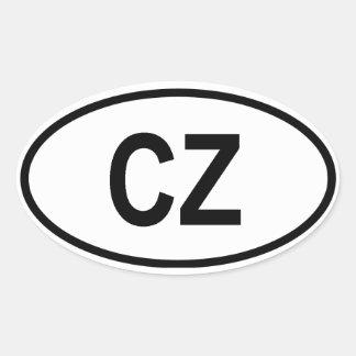 """República Checa """"CZ """" Pegatina Ovalada"""