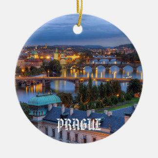 República Checa - ornamento del navidad de Praga Adorno Navideño Redondo De Cerámica