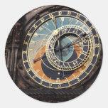 República Checa: Reloj astronómico de Praga Pegatinas Redondas