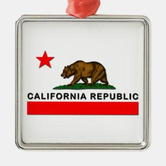 República de California Adorno Cuadrado Plateado