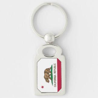 República de California (bandera de California) Llavero Plateado Rectangular