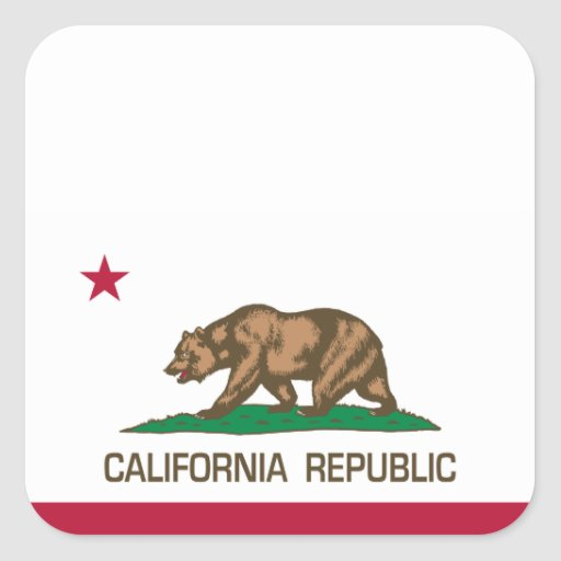 República de California (bandera del estado) Pegatina Cuadrada