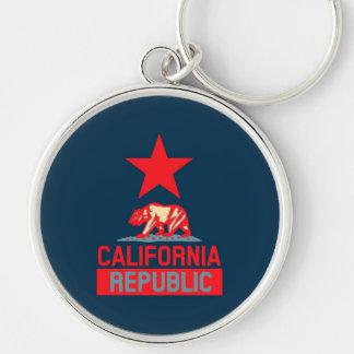 República de California en la decoración roja y Llavero Redondo Plateado