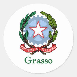 República de Grasso de Italia Pegatina Redonda