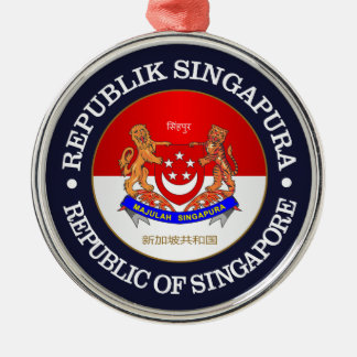 República de Singapur Adorno Navideño Redondo De Metal