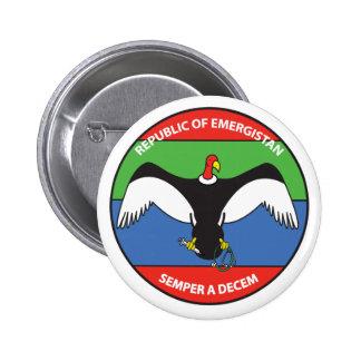 República del botón del logotipo de Emergistan Pin Redondo De 2 Pulgadas