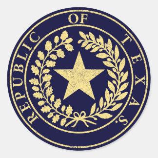 República del sello de Tejas Pegatina Redonda