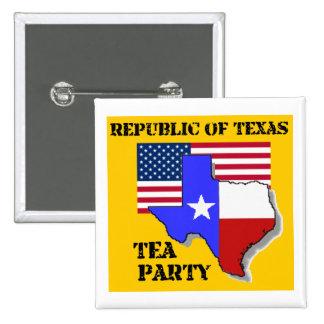 República del té de Tejas Fiesta-amarilla Pin Cuadrado