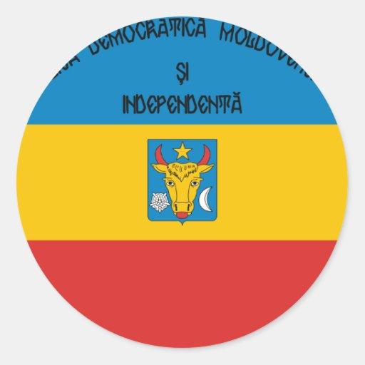 República Democratic de Moldavia, el Moldavia Pegatina Redonda
