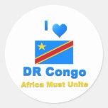 República Democrática del Congo Pegatinas Redondas