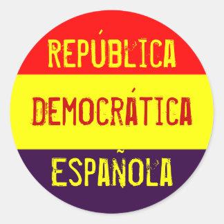 República, Democrática, Española Pegatina Redonda