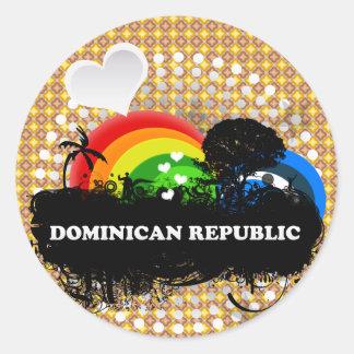 República Dominicana con sabor a fruta linda Pegatina Redonda